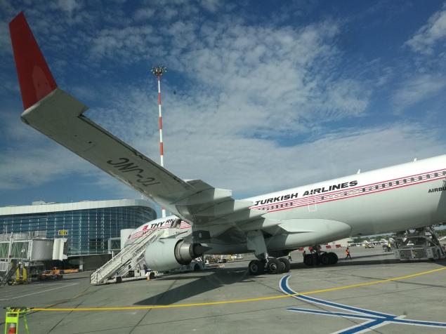 O calatorie de 43000km incepe , mai nou, nu cu primul pas ci cu primul avion (Turkish A330 din Otopeni)
